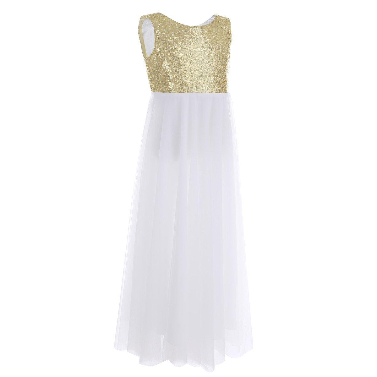 80752658e0876 Amazon.com  iiniim Junior Bridesmaid Dress Sequin Flower Girl Dress Formal  Wedding Pageant Party Prom Dance Ball Gowns  Clothing