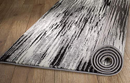 Rio AQ-3S2I-VP1K Summit 305 Grey Black Area Rug Modern Abstract Many Sizes Available  (5' x 7'.2
