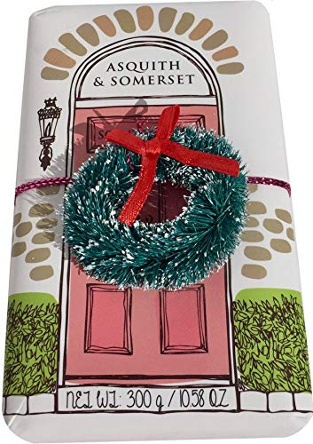 - Asquith Somerset Holiday Wreath Decorative Winter Scented Shea Butter Luxury Bath Soap 10.5 Ounce Bar (Christmas Rose)
