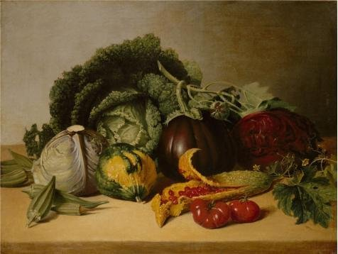 Oil Painting 'James Peale-Still Life Balsam Apples And Vegetables,1820s' 30 x 40 inch / 76 x 101 cm , on High Definition HD canvas prints is for Gifts And Bed Room, Dining Room And Kitchen Decoration