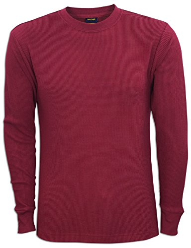 JLGUSA Men Heavy Weight Plain Thermal Long Sleeve Waffle Shirts Solid Colors (M, (Bum Thermal)