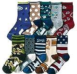 Boys Short Socks Fashion Camouflage Cotton Basic Crew Kids Socks 10 Pair Pack