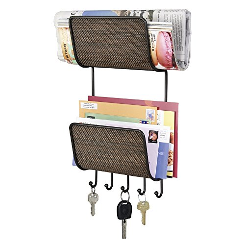 mDesign Magazine, Mail/Letter Holder, Key Rack Organizer for
