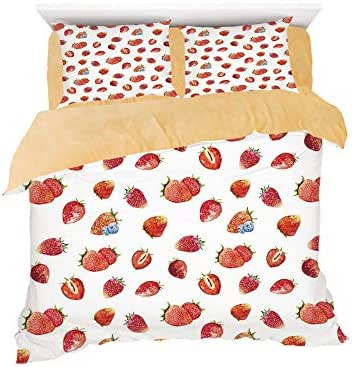 Homenon Artful Pattern Ripe Strawberries Blueberries Tasty Fresh Fruits,3D Printed in Flannel Duvet Cover Set,Decorated on a 4ft Bed,4 Piece Bedding Set,Twin Size,Vermilion Green Slate Blue