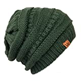 Bowbear Winter Knit Slouchy Beanie, Forest Green