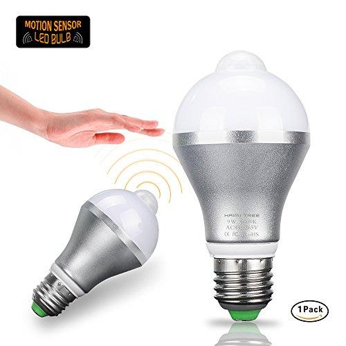Motion Sensor Light Bulb,HAIMI TREE 9W E26/E27 Smart PIR LED Bulbs Auto On/Off Night Lights for Stairs Garage Corridor Walkway Yard Hallway Patio Carport (Cold White) (Walkway Tree)