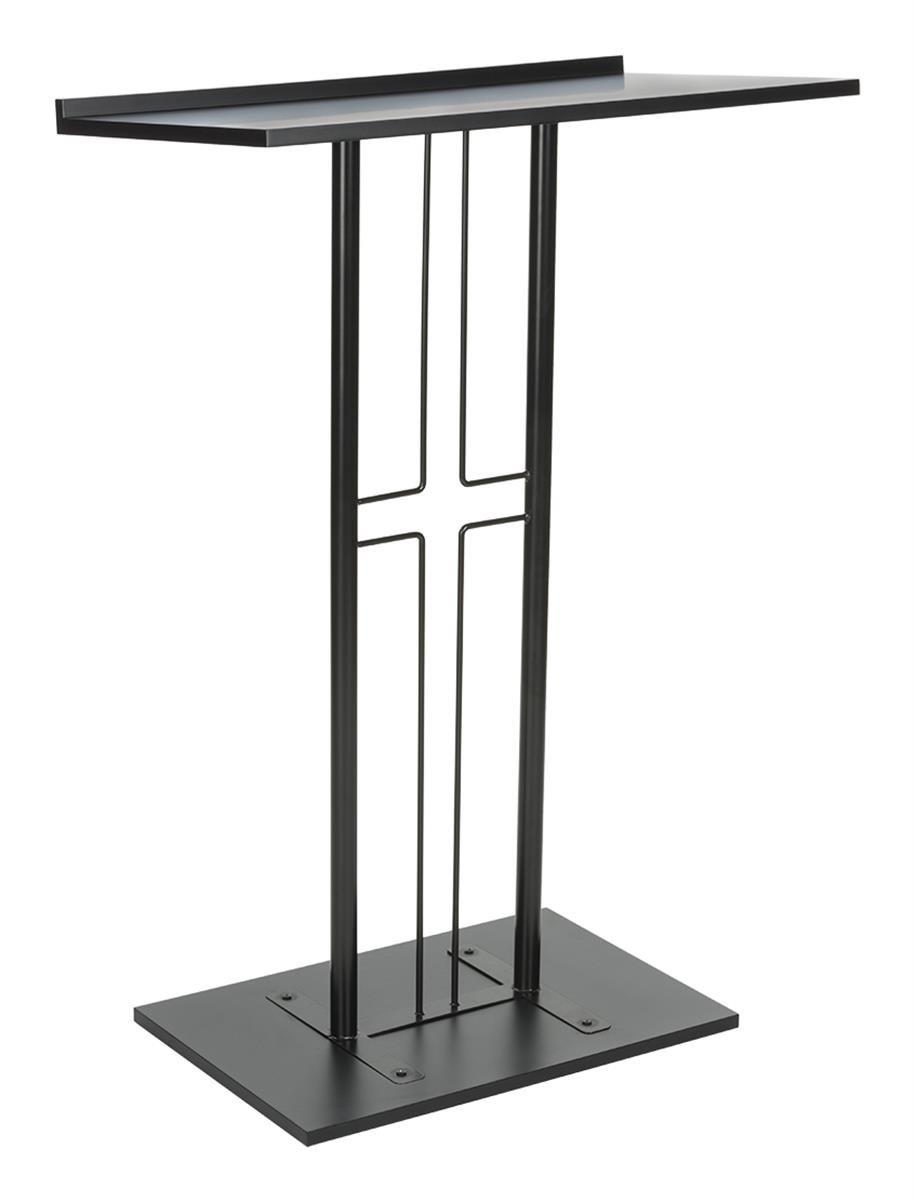 Displays2go Cross Podium, Floor Standing Pulpit, Slanted Top, Steel with Wood Base, Black (LCTPCRSBLK)