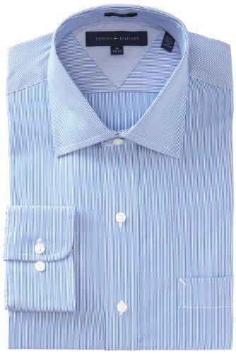 Tommy Hilfiger Men's Slim Fit Microstripe Dress Shirt, Blue, 18 36-37