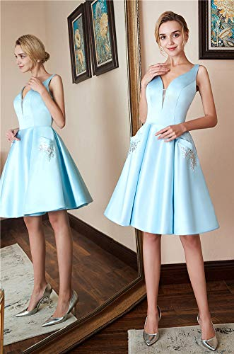 Neck Dresses Satin Prom with Homecoming Dresses Beaded V Pockets Silver HONGFUYU Cocktail Short RqSH5nAw5