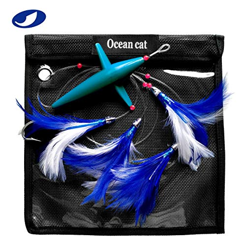 OCEAN CAT 5 Pcs/Set 5 inch Daisy Chain Trolling Lures with Brid Feather Saltwater Offshore Big Game Trolling Lure Bag for Marlin Tuna Mahi Dolphin Durado Wahoo Free Mesh (Best Offshore Trolling Lures)
