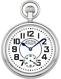 Men's Silver-Tone Mechanical Hand Wind Railroad Pocket Watch # GWC14102S