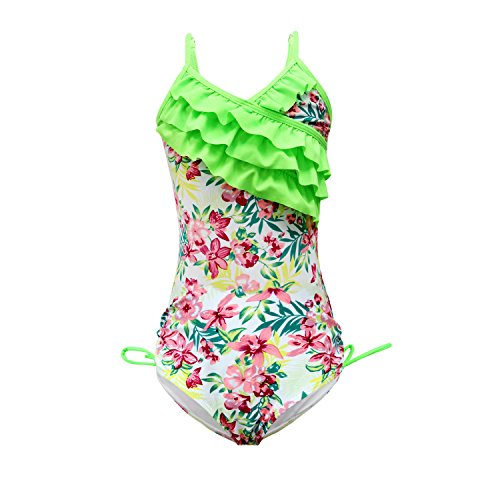 7492fd2ca3 qyqkfly Girls One Piece Adjustable Bathing Suit Modest Ruffle Swimwear  2Y-10Y Swimsuit (FBA) (B-Green