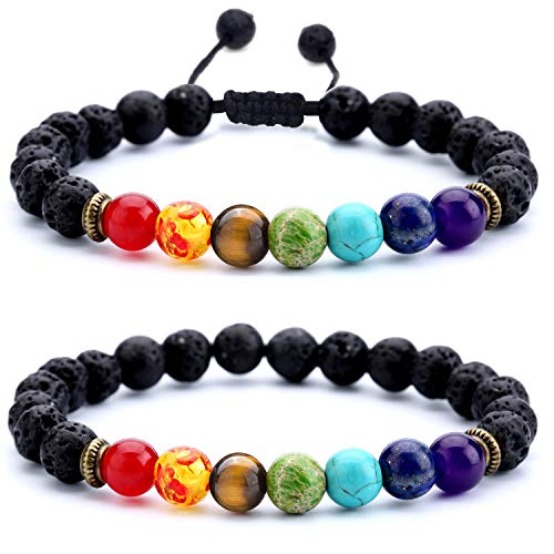 Hamoery Men Women 8mm Lava Rock Chakra Beads Bracelet Set Braided Rope Natural Stone Yoga Bracelet Bangle (Set 1) (Healing 7 Chakras Volcanic Stone Energy Bracelet)