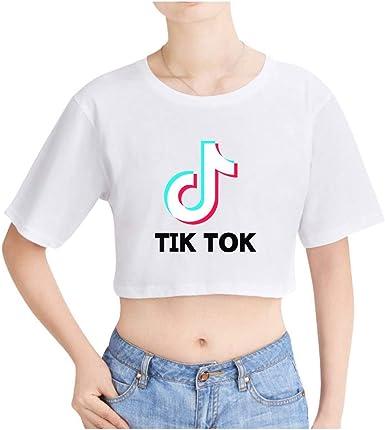 TIK TOK Camiseta Corta para Niñas Adolescentes Moda Verano Sexy Crop Top T-Shirts Tops de Manga Corta, Cuello Redondo Ropa Deportiva Casual Chalecos para Mujeres: Amazon.es: Ropa y accesorios