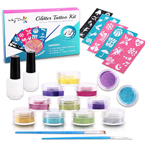 - Maydear Glitter Tattoo Kit with 12 Large Glitters & 40 Stencils for Temporary Tattoos children temporary tattoos kids Teenager Adult Party Accessory & Body Art (12-Color)