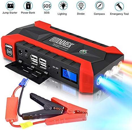 IMMEK Arrancador de Coches Dise/ñado para 12V 6L Gasolina y 4L Di/ésel Carga R/ápida QC3.0.Banco de Bater/ías con USB QC3.0 /& Tipo C 600A 20000mAh Arrancador de Coches con Pinzas Inteligentes
