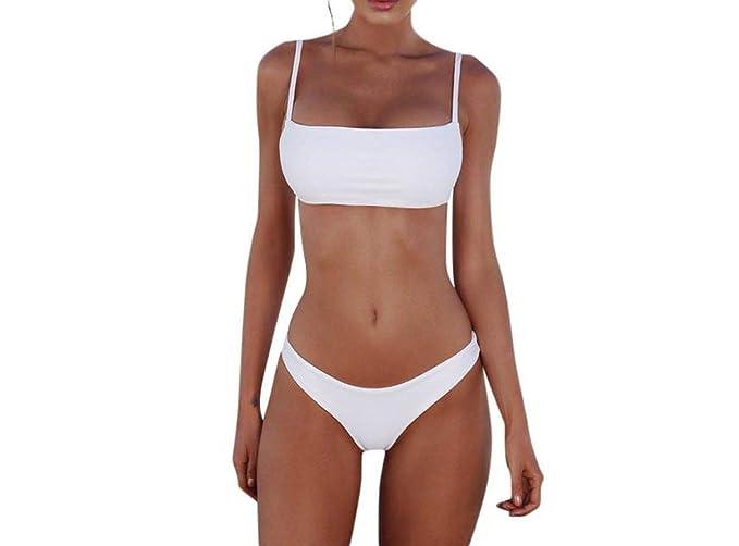 c78fc829aa7 Amazon.com  NanGate Solid Bikini Set Push-up Pad Bra Brazilian Swimsuit  Swimwear Women Bather Suit Swimming Suit Biquini Mayo White  Clothing