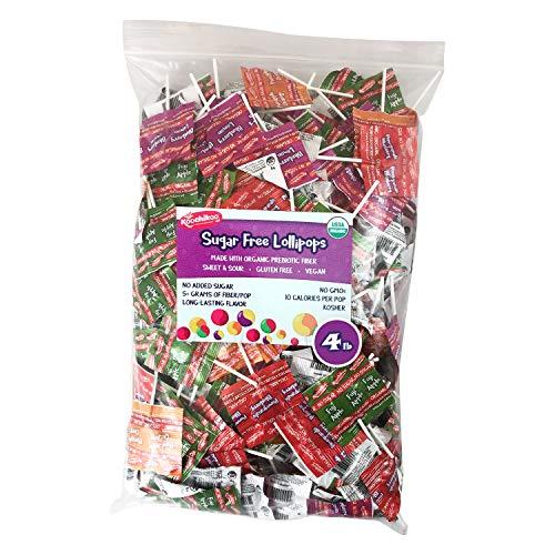 Koochikoo Sugar Free Organic Lollipop, Delicious Assorted Fruity Flavors, Bulk Bag, 4 LB