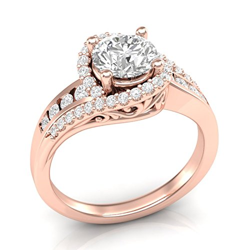 Rose Gold Twisted Halo Engagement Ring 14K Engagement Ring Vintage Filigree Halo Ring Swirl Twist Ring Channel and Prong Setting Forever One Colorless Moissanite Center Ring For Her