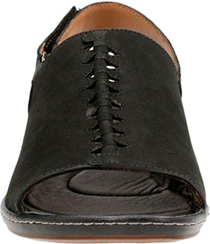 CLARKS Womens Sarla Forte Black Nubuck Sandal (8 A - Narrow)