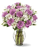 Benchmark Bouquets Delightful Roses & Alstroemeria, With Vase Deal