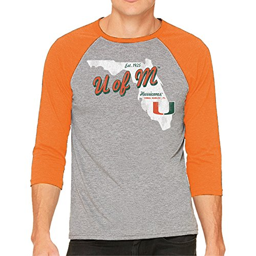 NCAA Miami Hurricanes Men's 3/4 Baseball Tee, Large, Heather/Orange