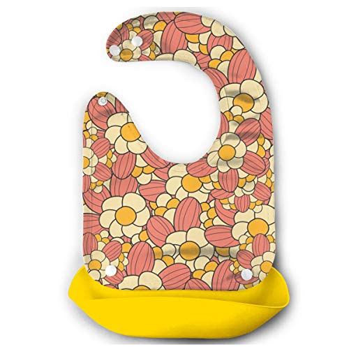 KUYTZDCUTE Flower Power Pattern in Warm Tones Baby Bibs Waterproof for Babies and Toddlers Easily Wipes Clean Comfortable Soft