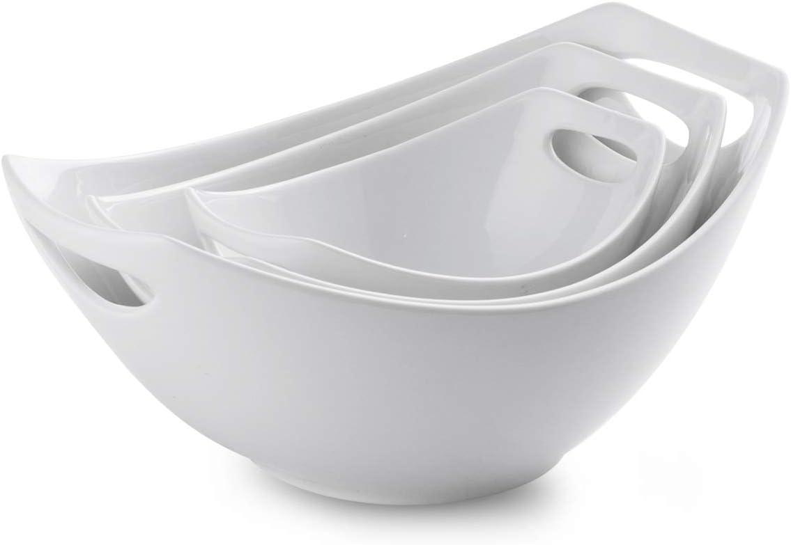 Porcelain Serving Bowl Set with Handles 3 Packs Ceramic Mixing Bowl Set for Kitchen Nesting Bowl Set 15/ 28/ 49oz