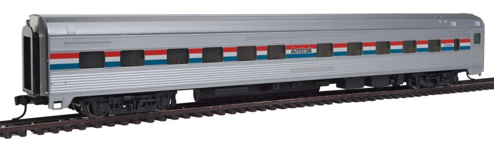 85' Budd 10-6 Sleeper - Ready to Run -- Amtrak (Phase III; silver, Equal red, white, blue Stripes) WALTHERS