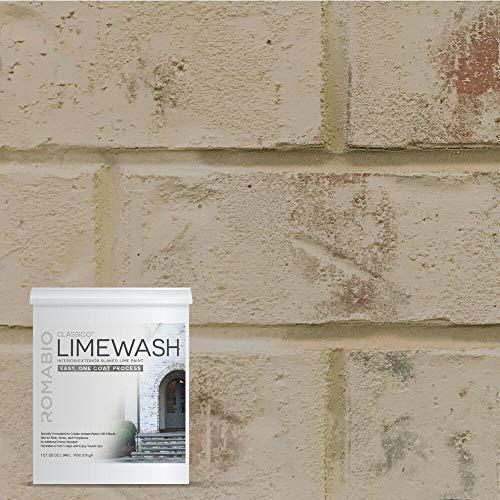 Romabio Classico Limewash Interior/Exterior Paint, Italian slaked-Lime, One Coat, Toscana Beige, - Toscano Coat
