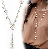 TraveT Pearl Five Petals Long Necklace Tassel Long Sweater Chain Accessories