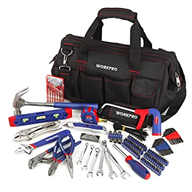 WORKPRO W009036A 156-piece Home Repairing Tool Set, Complete Daily Using Tools Are Included in Wide Open Mouth Tool Bag