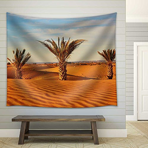 Palm Trees and Sand Dunes in The Sahara Desert Merzouga Morocco Fabric Wall