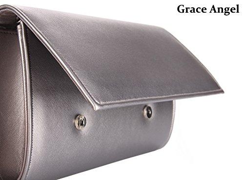 Clutch Women��s GA3559 Grace Wedding Evening Grey Handbag Party Purse Angel Leather Pu Cocktail P516nwzq5r