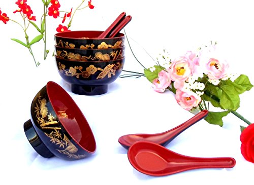 4 Golden Pine Bamboo Plum Blossom Lacquer Rice Miso Soup Bowls 4 Spoons Red/black