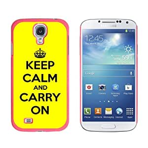 Graphics and More Keep Calm and Carry On Yellow Snap-On Hard Protective Case for Samsung Galaxy S4 - Non-Retail Packaging - Pink by supermalls