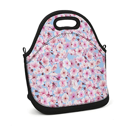 Scsdw Wdrt Unisex Lunch Bag Cherry Blossoming Sakura Cosplay - Lightweight - Insulated and Reusable - with Zip Closure Lunch Tote Bag for Men,Women and Kids