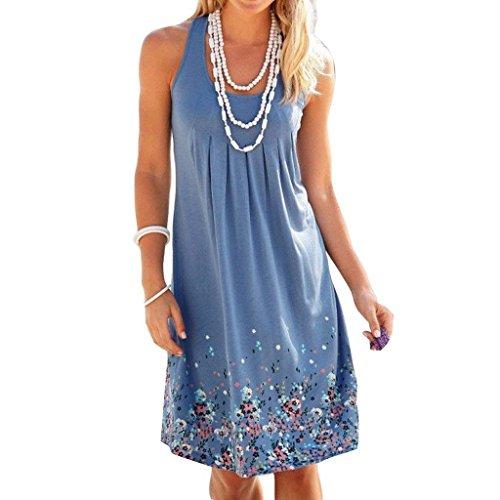 Collo Vestiti Pingrog Rotondo Scioltochic Donna Ginocchio Al Boho Stampa Mare Smanicato Blau Estivi Casuale Abiti Gilet Fiore Vestito Elegante Vintage T13JFlKc
