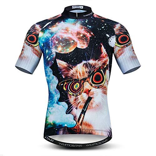Men's Cycling Bike Jersey Short Sleeve Three Rear Pockets Moisture Wicking Breathable Biking Shirt Cat Size - Cat Equipment Clothing