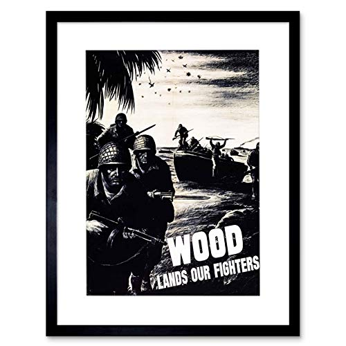 Vintage Ad Propaganda War WWII USA Wood Lumber Soldier Framed Wall Art Print 第二次世界大戦アメリカ合衆国