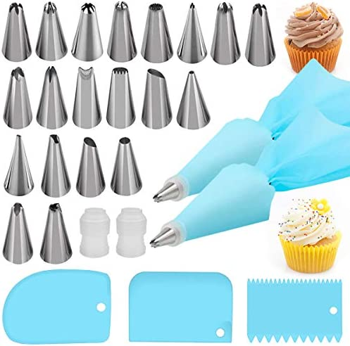Silicone Icing Piping Bag,Reusable Cream Pastry Bag and 14× Stainless Steel Nozzle Set DIY Cake Decorating Tool(14×Nozzle, 2×Icing Cream Pastry Bag and 2 X Converter and 3×Scraper) [Energy Class A+]