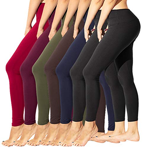 TNNZEET High Waisted Leggings for Women Regular & Plus Size Tummy Control Work Out Full Length Leggings-Stretch Opaque Slim (Length Full Leggings)