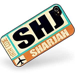Rubber Case for iphone 4 4s Airportcode SHJ Sharjah - Neonblond