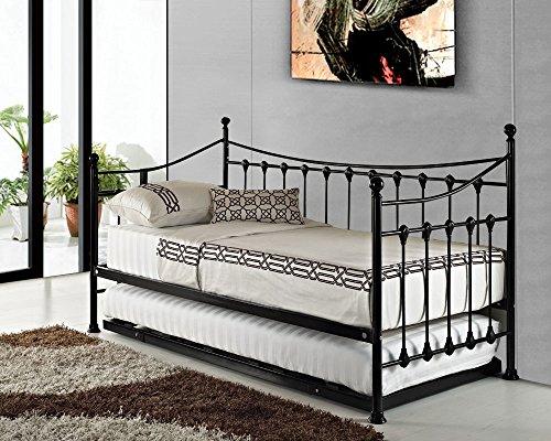 Formschöne French Metall Versailles Single Day Bett mit Rollen Ziehen Gäste-schwarz oder weiß Modern schwarz