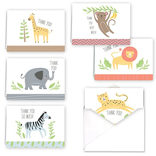 Jungle Animal Baby Child Thank You Folded Assortment Card Pack - Set of 36 Cards, 6 Designs - 6 Cards per Design, 4 7/8'' x 3 1/2''. Blank Inside. Made in The USA. Blank White envelopes Included.]()