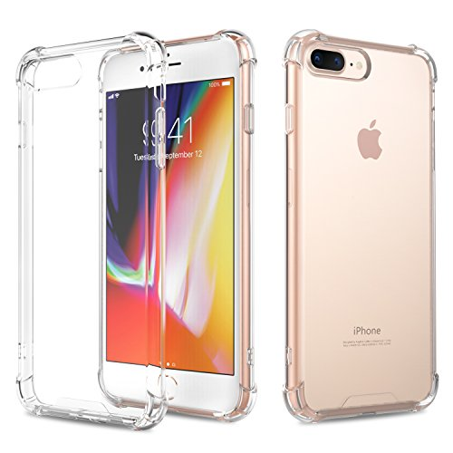 For iPhone 7 Plus Case /iPhone 8 Plus Case, MoKo Crystal Clear Reinforced Corners TPU Bumper Cushion + Hybrid Rugged Transparent Panel Cover for Apple iPhone 7 Plus / 8 Plus - Crystal Clear (Crystal Iphone Case Clear)