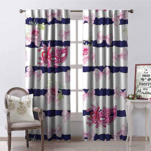(GloriaJohnson Masquerade Shading Insulated Curtain Venetian Style Carnival Masks on Stripes with Satin Bows Roses Flowers Soundproof Shade W42 x L84 Inch Pink White Blue)