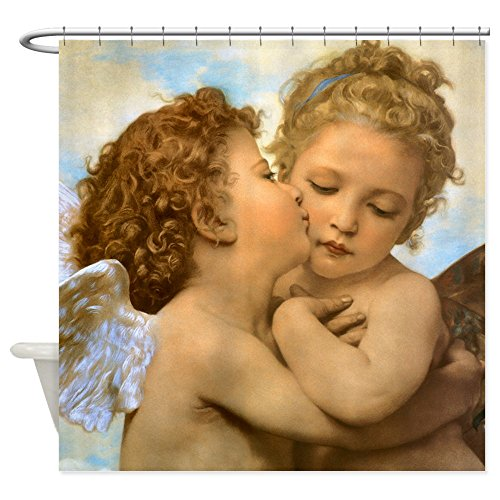 CafePress First Kiss by Bouguereau Decorative Fabric Shower Curtain (69
