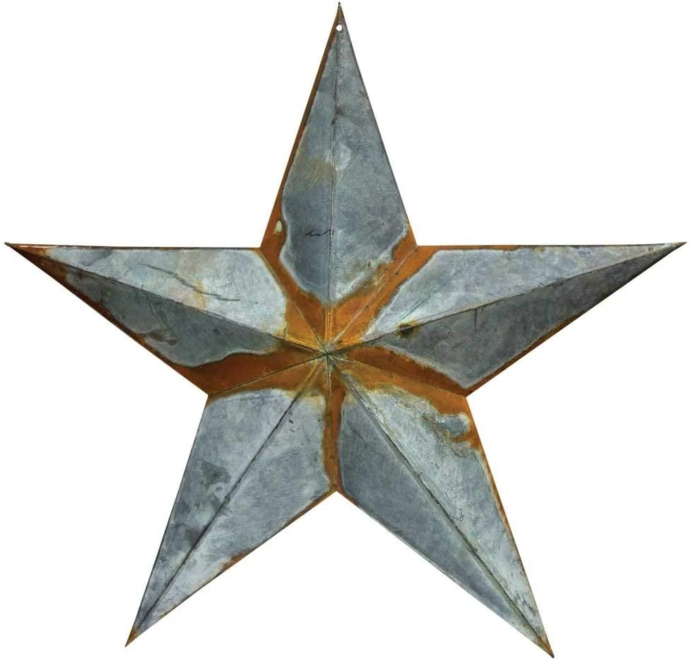 "Tin Galvanized Metal Barn Star 24"" Large Grey zinc Rustic Country Indoor Outdoor Christmas Home Decor Look Great Hanging on House Walls Fence Porch Patio"
