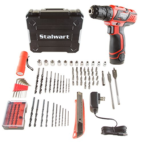 - Stalwart 75-PT1003 12V Lithium Ion 75 Pc 2 Speed Drill & Accessory Tool Set,